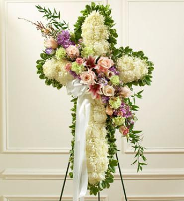 White Cross with Pastel Flower Break