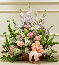 Pastel Mixed Flower Fireside Basket