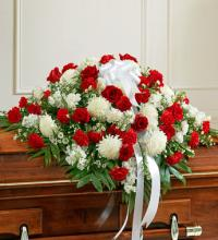 Red and White Half Casket Cover