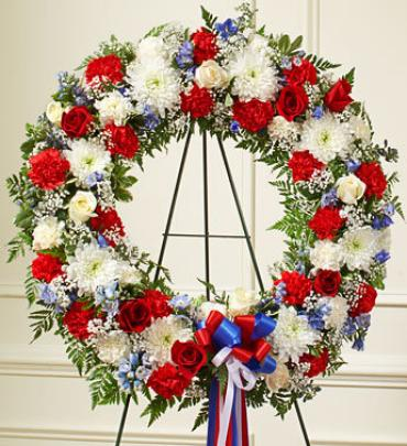 Red White and Blue Standing Wreath