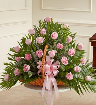 Pink Rose Fireside Basket